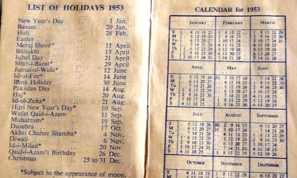 Holidays in Pakistan in 1953