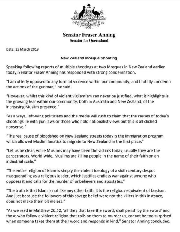 Senator Fraser Anning - Press release